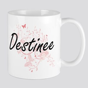 Destinee Artistic Name Design with Butterflie Mugs
