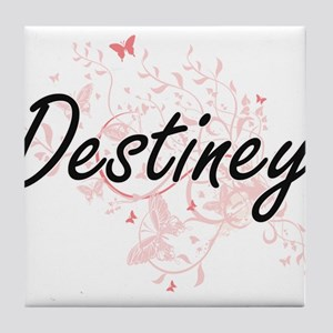 Destiney Artistic Name Design with Bu Tile Coaster