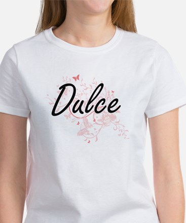 Dulce Artistic Name Design with Butterflie T-Shirt