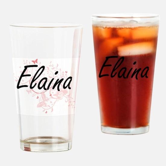 Elaina Artistic Name Design with Bu Drinking Glass
