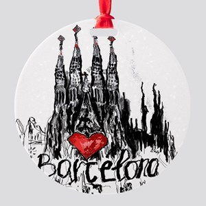 I love Barcelona Round Ornament