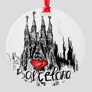 I love Barcelona Round Ornament