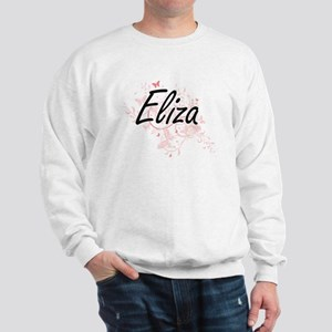 Eliza Artistic Name Design with Butterf Sweatshirt
