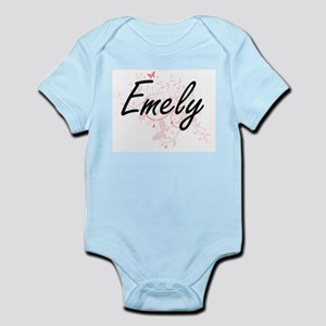Emely Artistic Name Design with Butterfl Body Suit