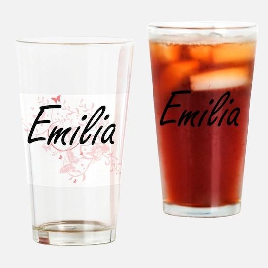 Emilia Artistic Name Design with Bu Drinking Glass