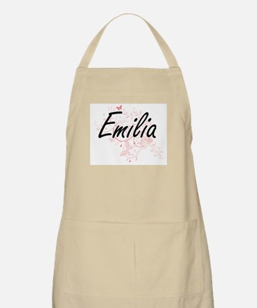 Emilia Artistic Name Design with Butterflies Apron