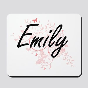 Emily Artistic Name Design with Butterfl Mousepad