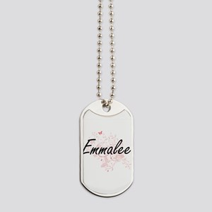 Emmalee Artistic Name Design with Butterf Dog Tags