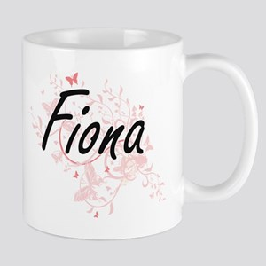 Fiona Artistic Name Design with Butterflies Mugs