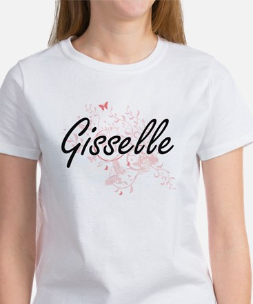 Gisselle Artistic Name Design with Butterf T-Shirt