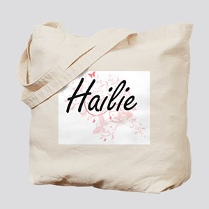 Hailie Artistic Name Design with Butterfl Tote Bag