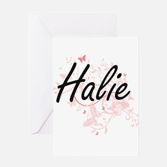 Halie Artistic Name Design with But Greeting Cards