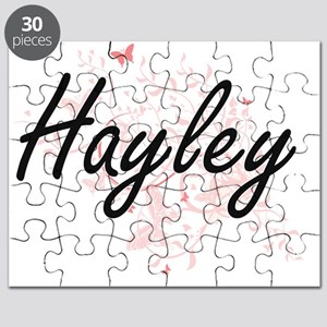 Hayley Artistic Name Design with Butterflie Puzzle