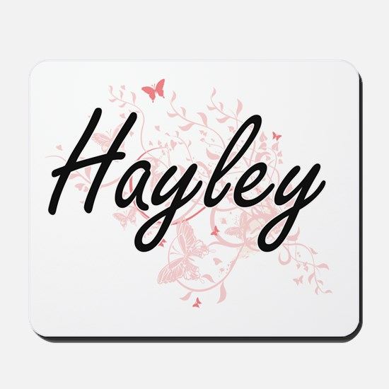 Hayley Artistic Name Design with Butterf Mousepad