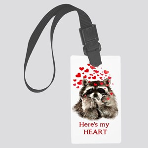 Here's My Heart Cute Raccoon Large Luggage Tag