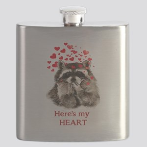 Here's my Heart Cute Raccoon Blowing Kisses Quote