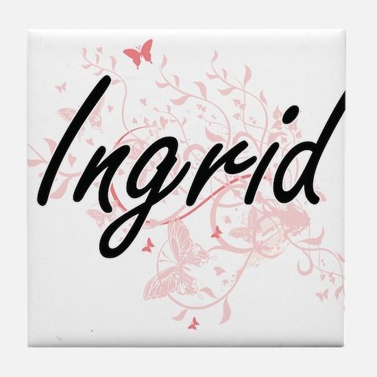 Ingrid Artistic Name Design with Butt Tile Coaster