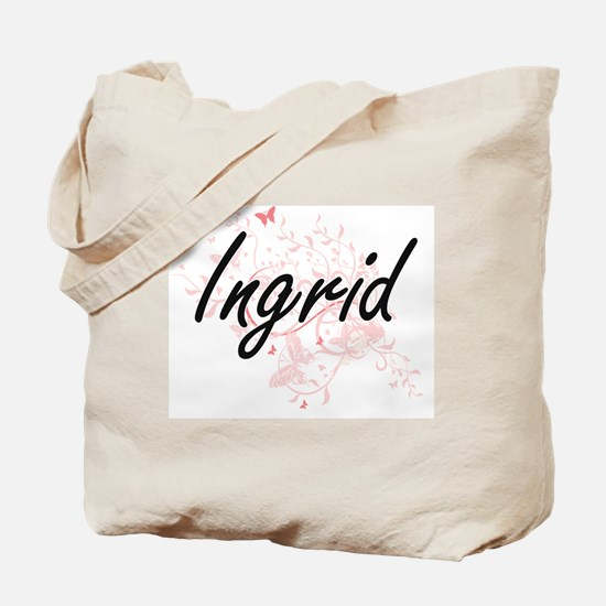 Ingrid Artistic Name Design with Butterfl Tote Bag