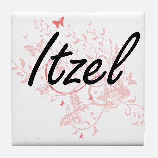 Itzel Artistic Name Design with Butte Tile Coaster