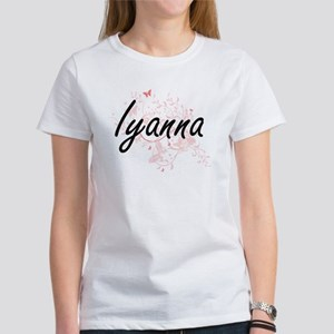 Iyanna Artistic Name Design with Butterfli T-Shirt