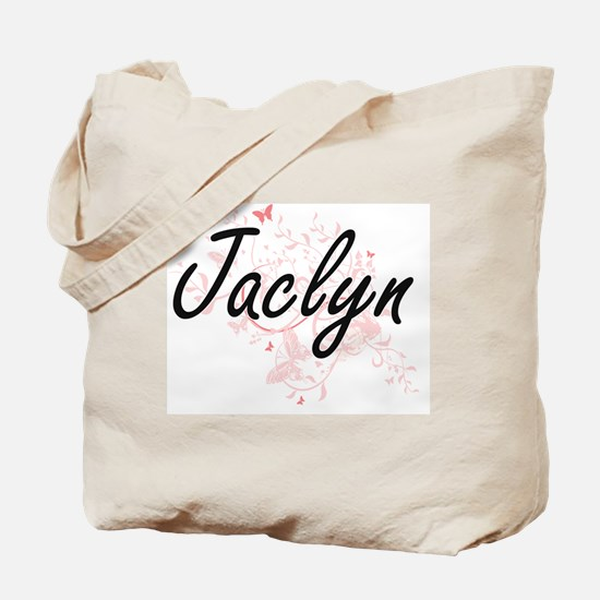 Jaclyn Artistic Name Design with Butterfl Tote Bag