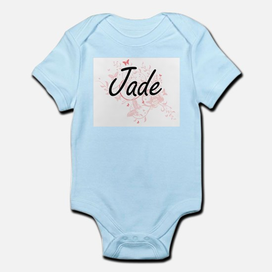 Jade Artistic Name Design with Butterfli Body Suit