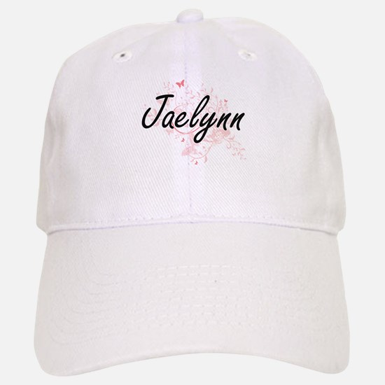 Jaelynn Artistic Name Design with Butterflies Baseball Baseball Cap