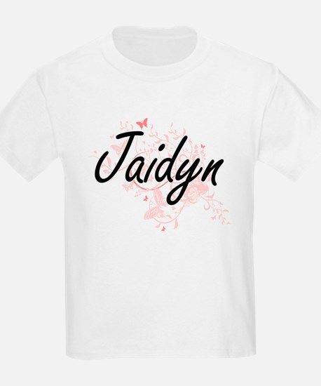 Jaidyn Artistic Name Design with Butterfli T-Shirt