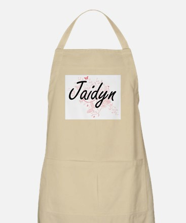 Jaidyn Artistic Name Design with Butterflies Apron