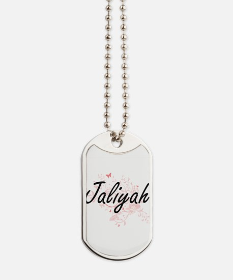 Jaliyah Artistic Name Design with Butterf Dog Tags