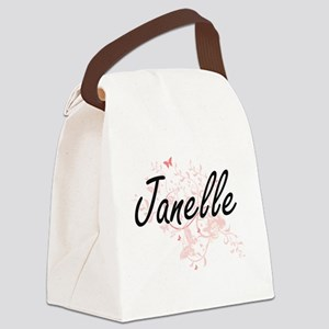 Janelle Artistic Name Design with Canvas Lunch Bag
