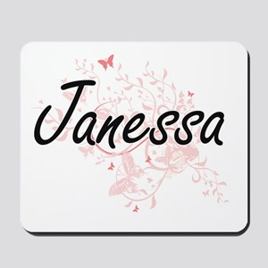 Janessa Artistic Name Design with Butter Mousepad