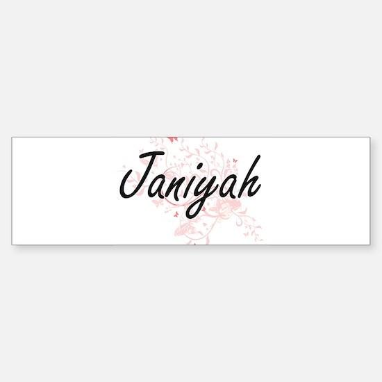 Janiyah Artistic Name Design with B Bumper Bumper Bumper Sticker