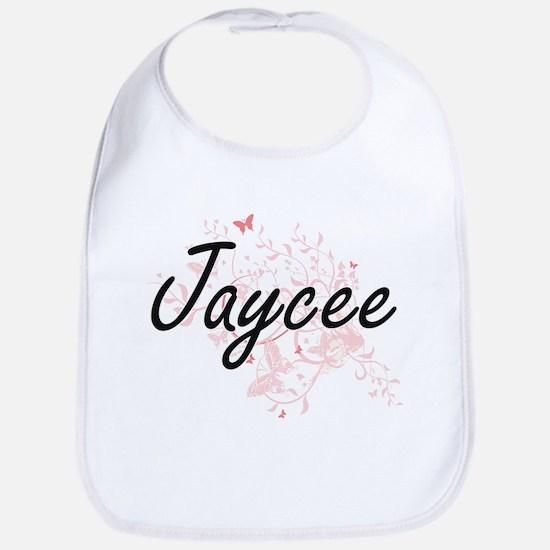 Jaycee Artistic Name Design with Butterflies Bib
