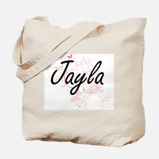 Jayla Artistic Name Design with Butterfli Tote Bag