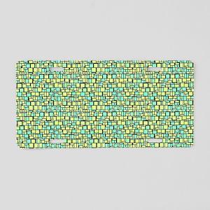 Green Mosaic Aluminum License Plate