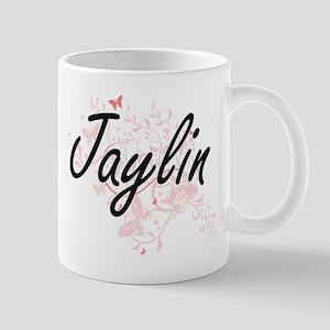 Jaylin Artistic Name Design with Butterflies Mugs