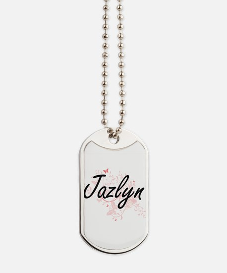 Jazlyn Artistic Name Design with Butterfl Dog Tags