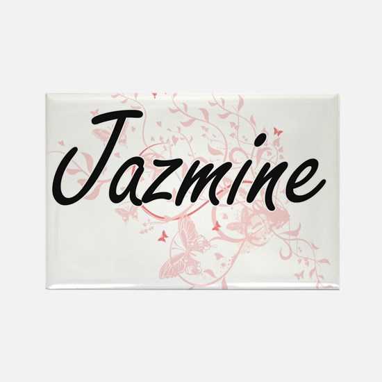 Jazmine Artistic Name Design with Butterfl Magnets