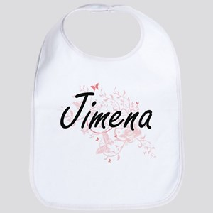 Jimena Artistic Name Design with Butterflies Bib