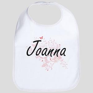 Joanna Artistic Name Design with Butterflies Bib