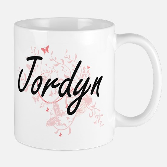 Jordyn Artistic Name Design with Butterflies Mugs