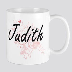 Judith Artistic Name Design with Butterflies Mugs