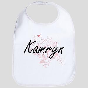 Kamryn Artistic Name Design with Butterflies Bib