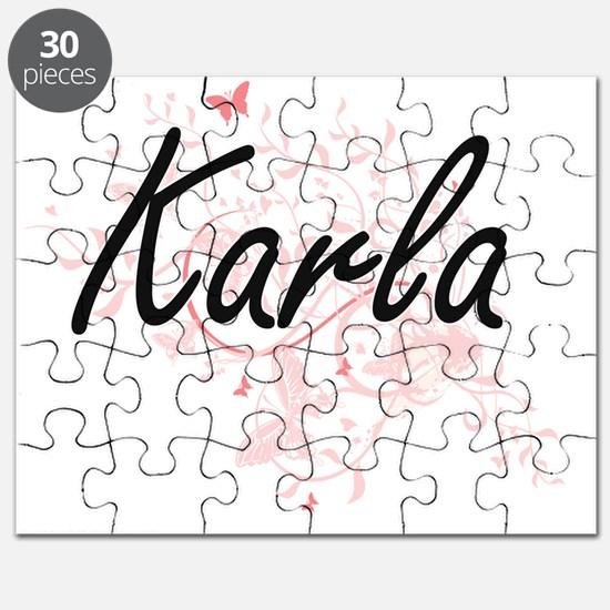 Karla Artistic Name Design with Butterflies Puzzle