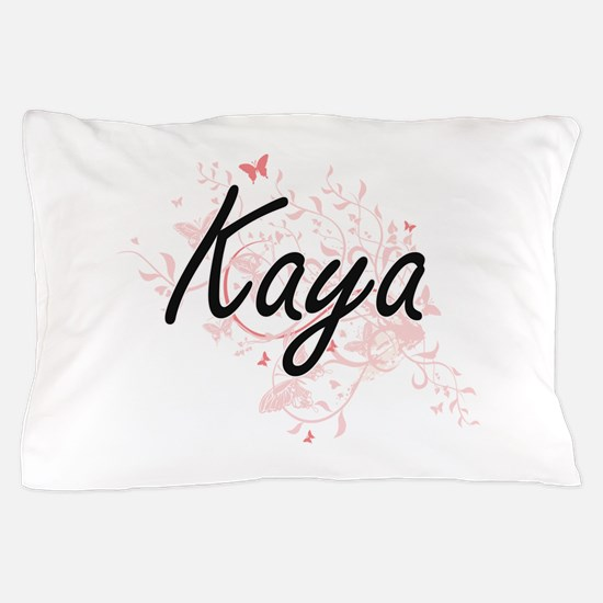 Kaya Artistic Name Design with Butterf Pillow Case