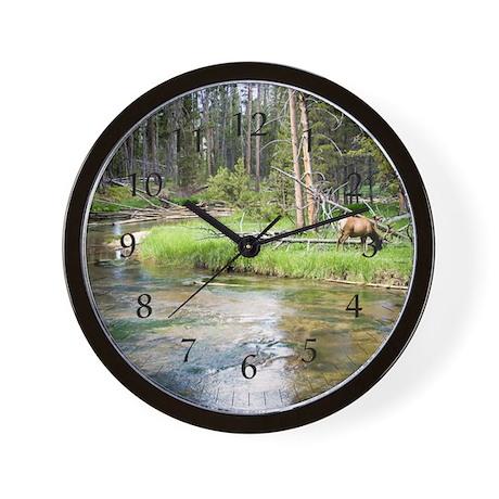 Elk by River Wall Clock