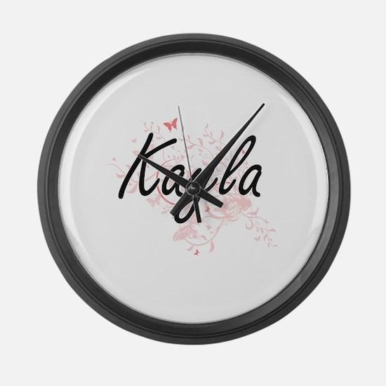 Kayla Artistic Name Design with B Large Wall Clock