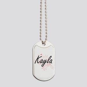 Kayla Artistic Name Design with Butterfli Dog Tags