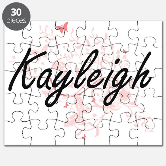 Kayleigh Artistic Name Design with Butterfl Puzzle